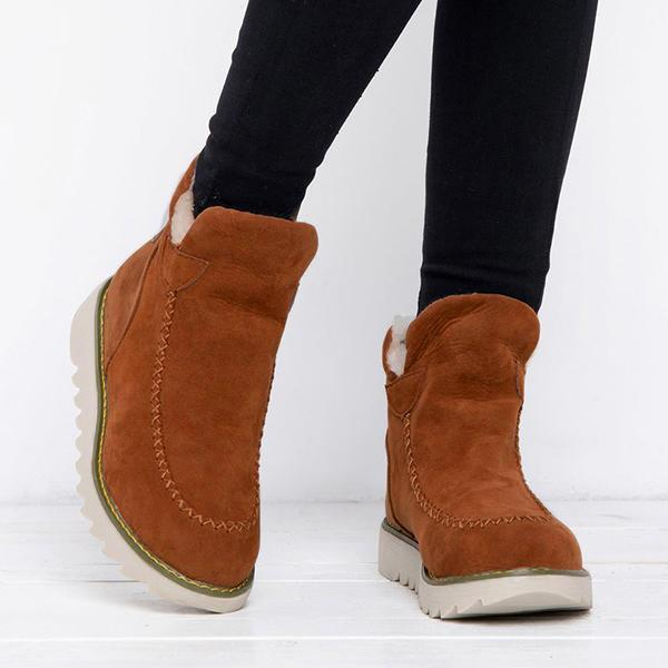 Zoeyootd Fur Lining Ankle Snow Boots