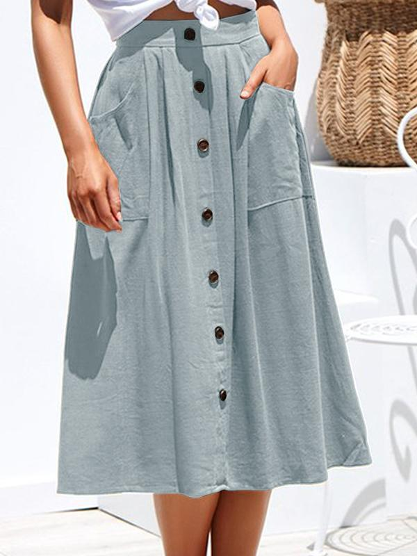 Mokoshoes Four-color-breasted Loose Pocket Skirt