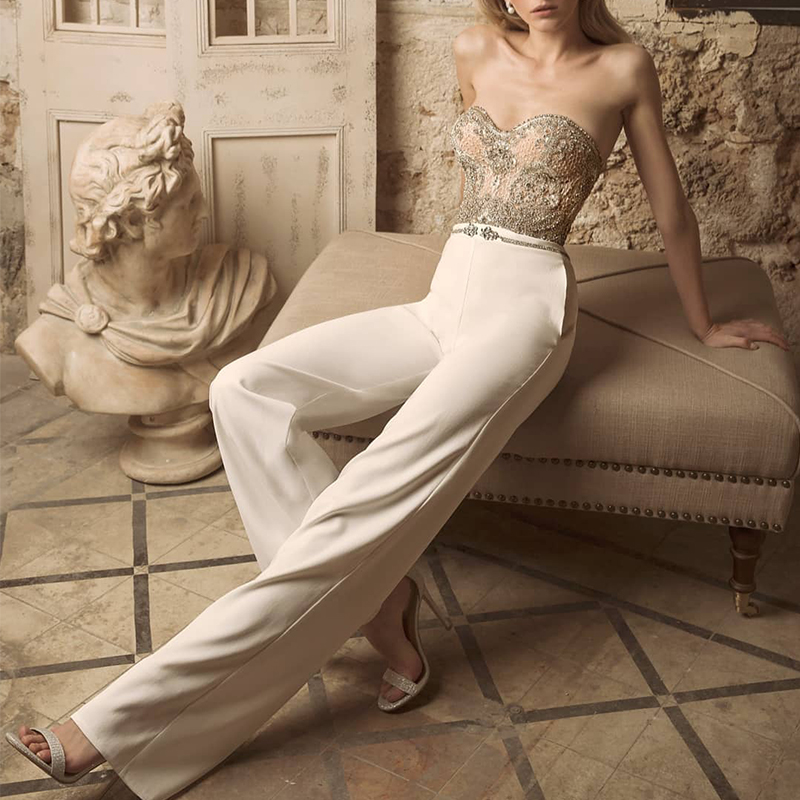 Sexy Embroidered Tube Top Knit Straight Leg Suit