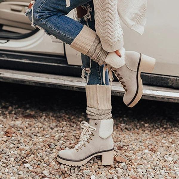 Zoeyootd Platform Lightweight Ankle Lace-Up Boots