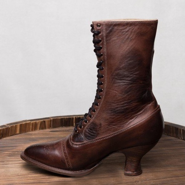 High Quality Retro Style Women's Fashion Kitten Heels Steampunk Boots Leather Boots Lace-Up Boots Thick Heel Boots Mid Calf Comfortable Casual Ladies Boots