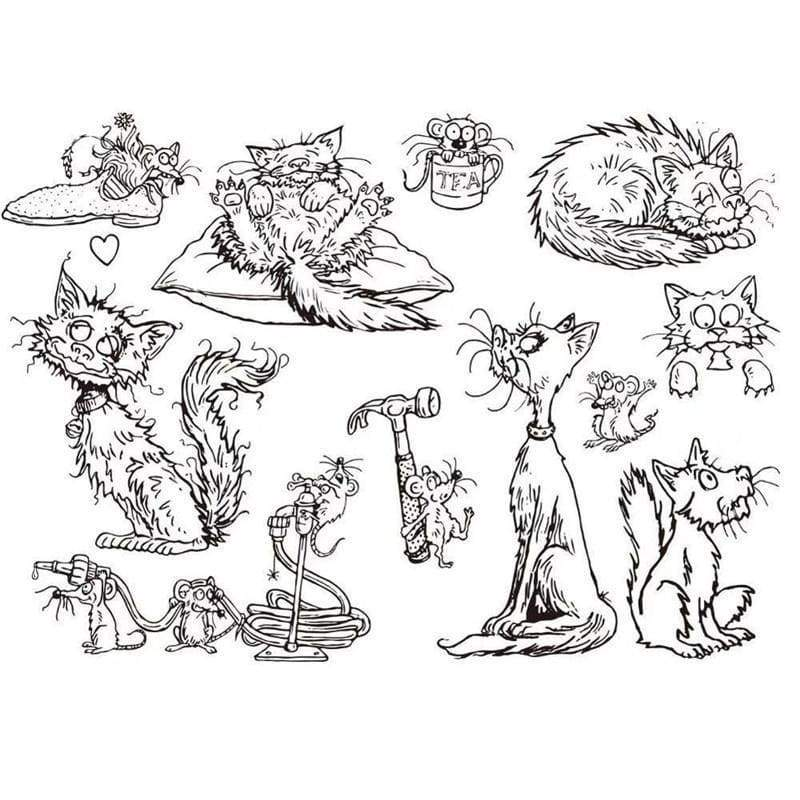 Cat and Mouse Transparent Clear Stamp for DIY Scrapbooking Card Making Kids Fun Photo Album Decoration Supplies