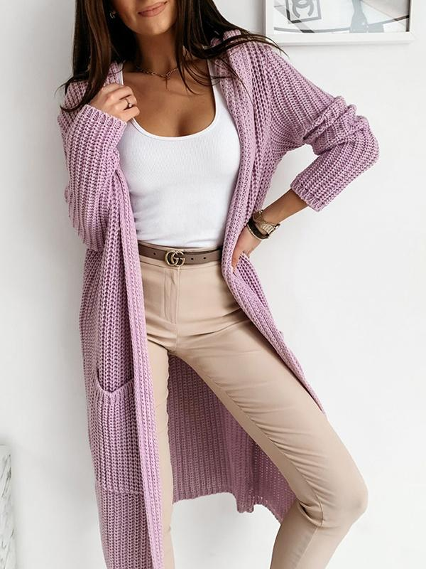 Bonnieshoes Oversized Bat Sleeve Relaxed Fit Hooded Blend Cardigan