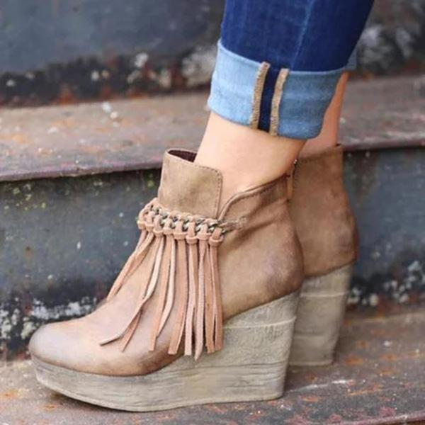 Zoeyootd Artificial Leather Tassel Wedge Boots