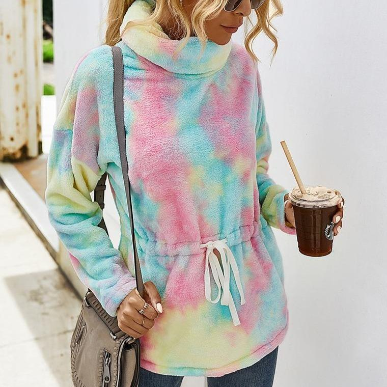 Fashion tie dye turtleneck sweater pullover waistband sweater fuzzy warm for winter