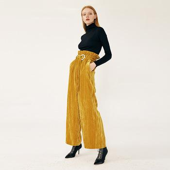 Women's Velvet Pants Yellow High Waist Ruffled Belt Yellow Corduroy Wide Leg Pants-carrot trousers 2.11