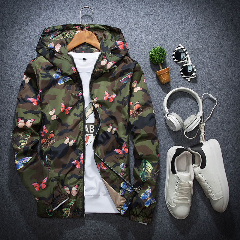 Spring and Autumn Couple Hooded Jacket Thin camouflage floral butterfly jacket