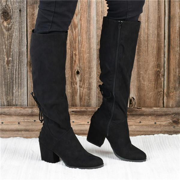 Twinklemoda Winter Suede Low Heel Daily Boots