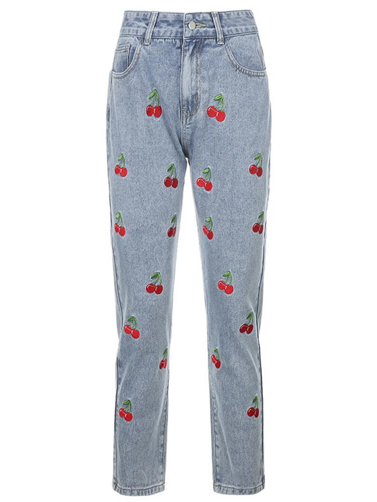 Women Casual Embroidery Cherry Pants