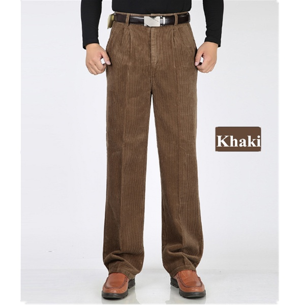 Winter Men's Thick Corduroy Casual Pants  Double Pleated High Waist Loose Cashmere Trousers