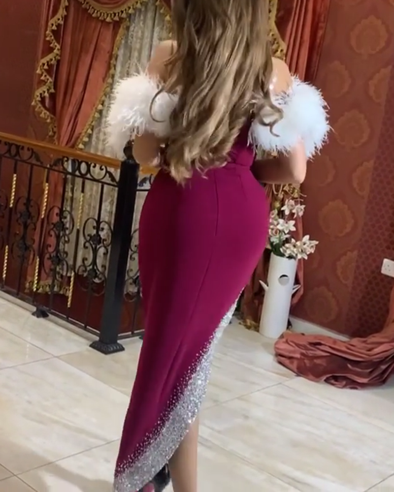 Feather Sexy Tight Evening Dress