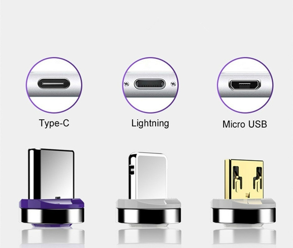 1 Cable+3 Plugs New Quick Magnetic USB-C Type C/IOS/Micro USB 360 Round Fast Charger Cable Mobile Phone Accessories Length 1M/2M(3ft=1m 6ft=2m)