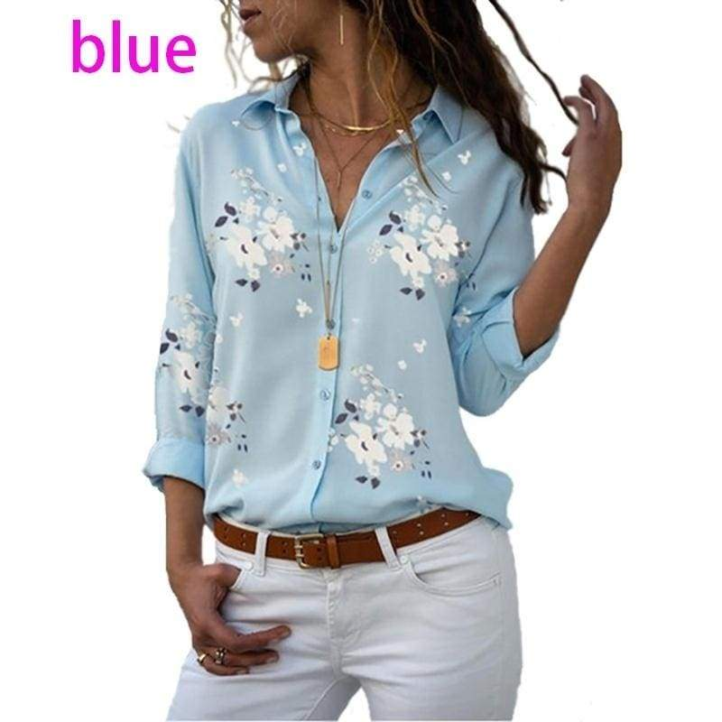 Women's Floral Printed Button Down Shirts Roll-up Sleeve V Neck Casual Work Blouses