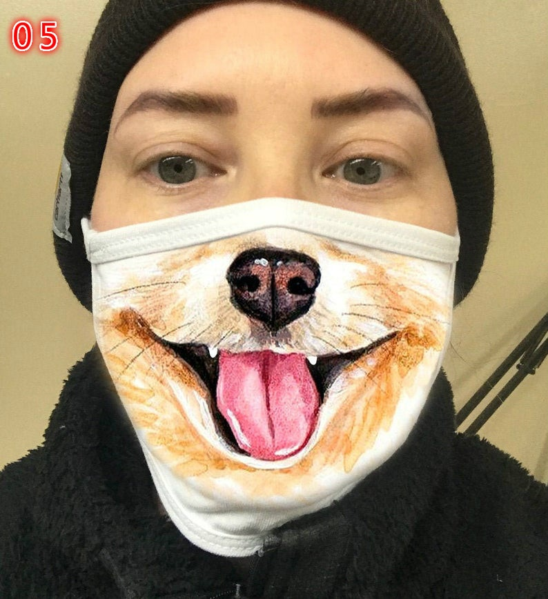 6 Style Funny Dog Nose Face Mask Women Men Unisex Face Cover Comfortable Washable Cotton Mask Puppy Printed Reusable Dust Mask