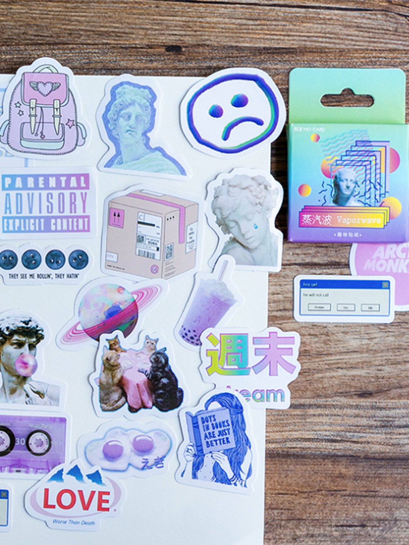 Random Sculpture & Letter Sticker 46pcs