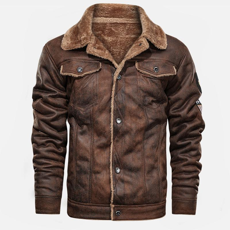 Fur Thickening Flying Suit Men's Moto Jacket