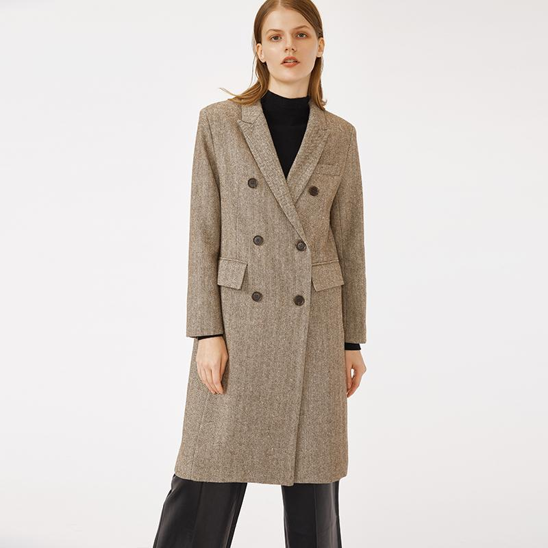 Elegant Double Button Winter Long Wool Trench Coat for formal women-Casual Outwear 2.11