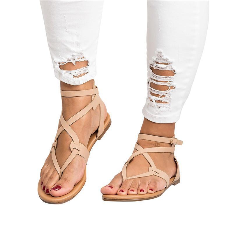 Zoeyootd Strappy Gladiator Thongs Sandals