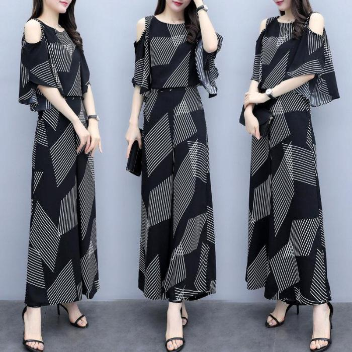 Stylish two-piece set of loose Cold-Shouldered blouse and loose pants