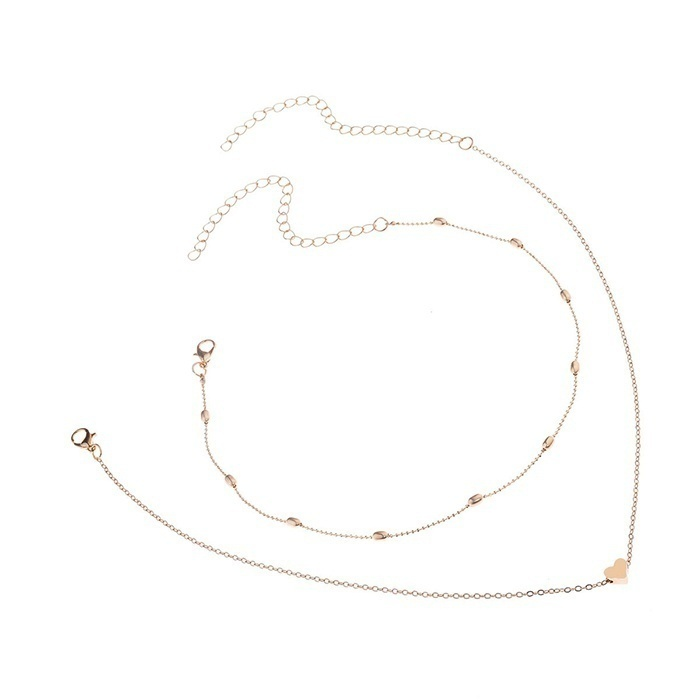 1Set Women Gold Silver Plated Heart Bib Statement Simplicity Choker Chain Pendant Necklace Jewelry Color:GoldSilver