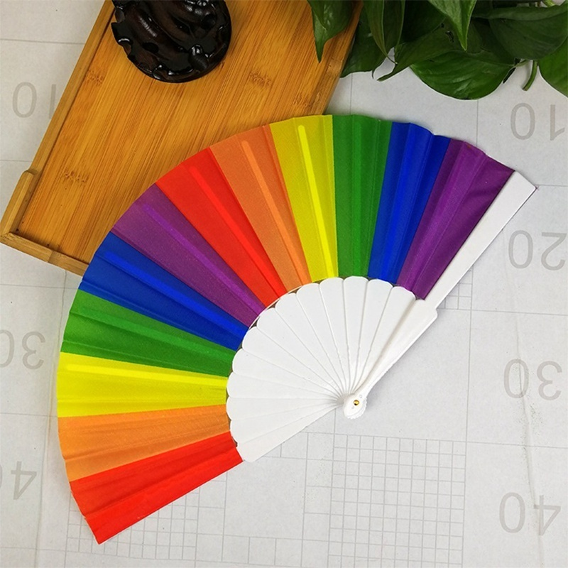 1Pcs Chinese Vintage Rainbow Hand Held Folding Fan Lesbian Gay Pride Lgbt Party Wood Bamboo Fan