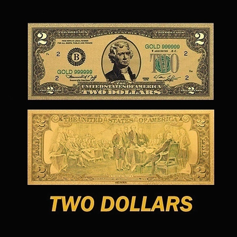 7Pcs/set Latest Version US Dollar Gold Banknotes Colored Golden Money Bill Gold Foil Crafts Collection Great Gifts