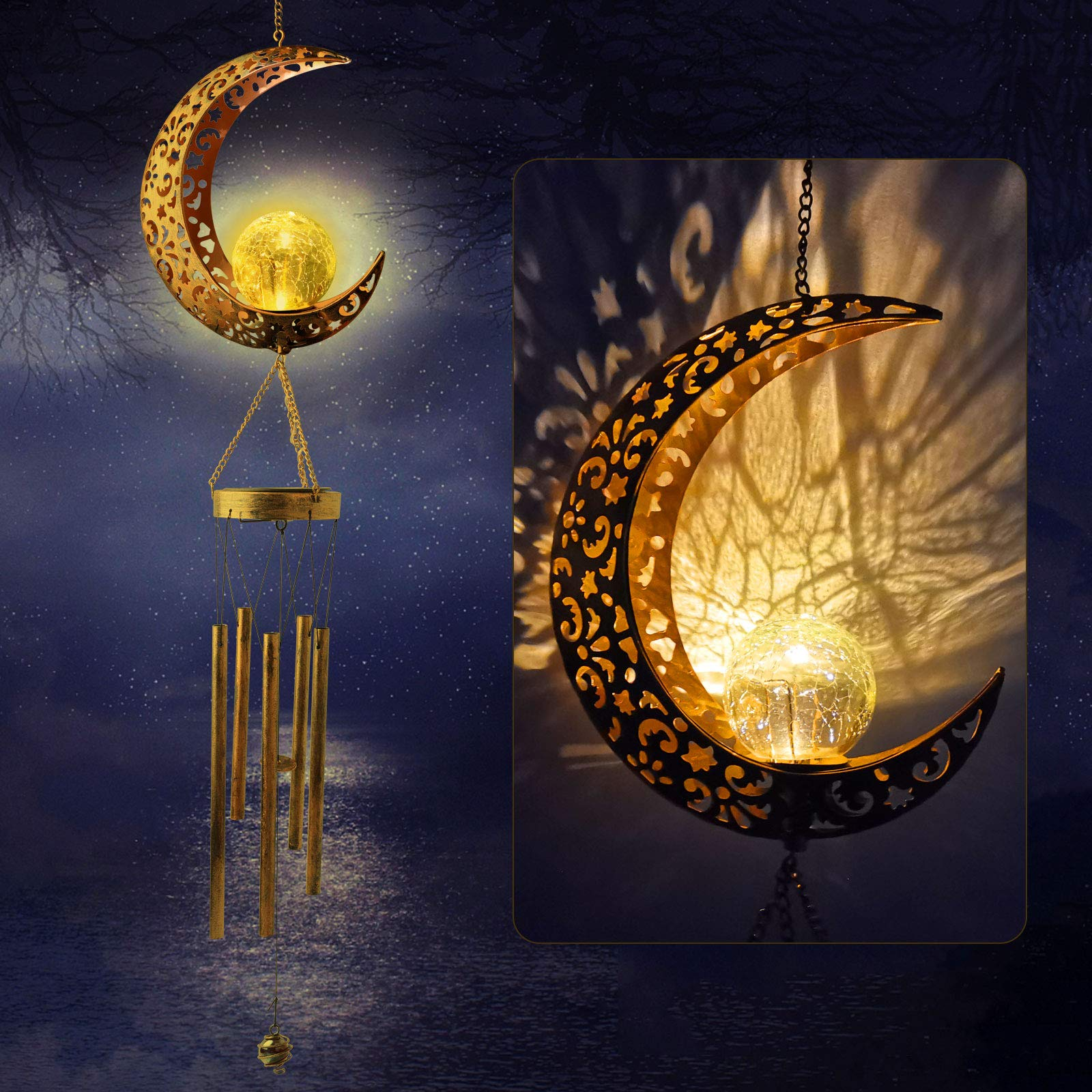 Sun and Moon Crackle Glass Ball solar wind chimes  Light