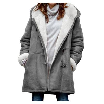 Women's horn button solid color casual hooded windbreaker
