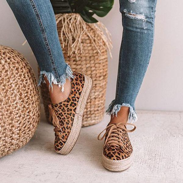 Upawear Daily Leopard Lace-up Espadrille Sneakers
