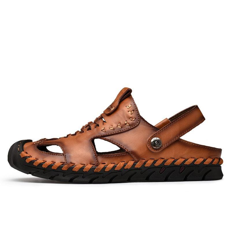 Men's Outdoor Hand Stitching Closed Toe Soft Non Slip Casual Leather Sandals