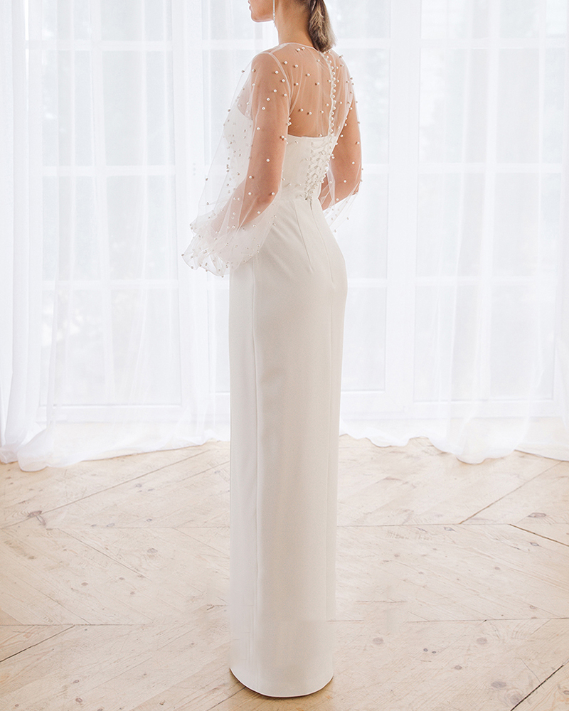 Fashion Pearl Muslin Pure Color Wedding Evening Dress