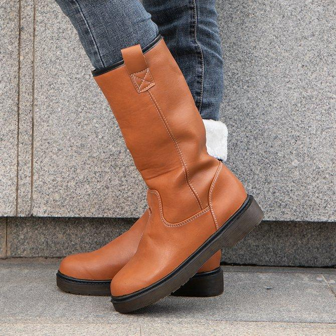 Women's Cozy Vintage Leather Knee High Boots With Comfy Lining