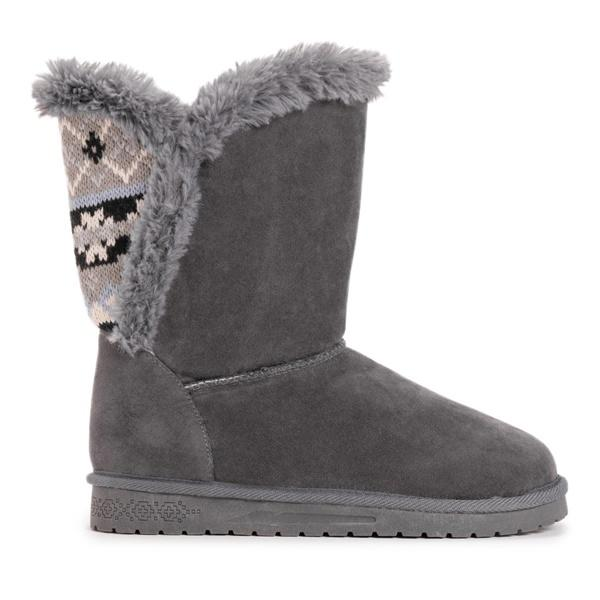 Mokoshoes Fluffy Faux Fur Lining Knit Detail Boots