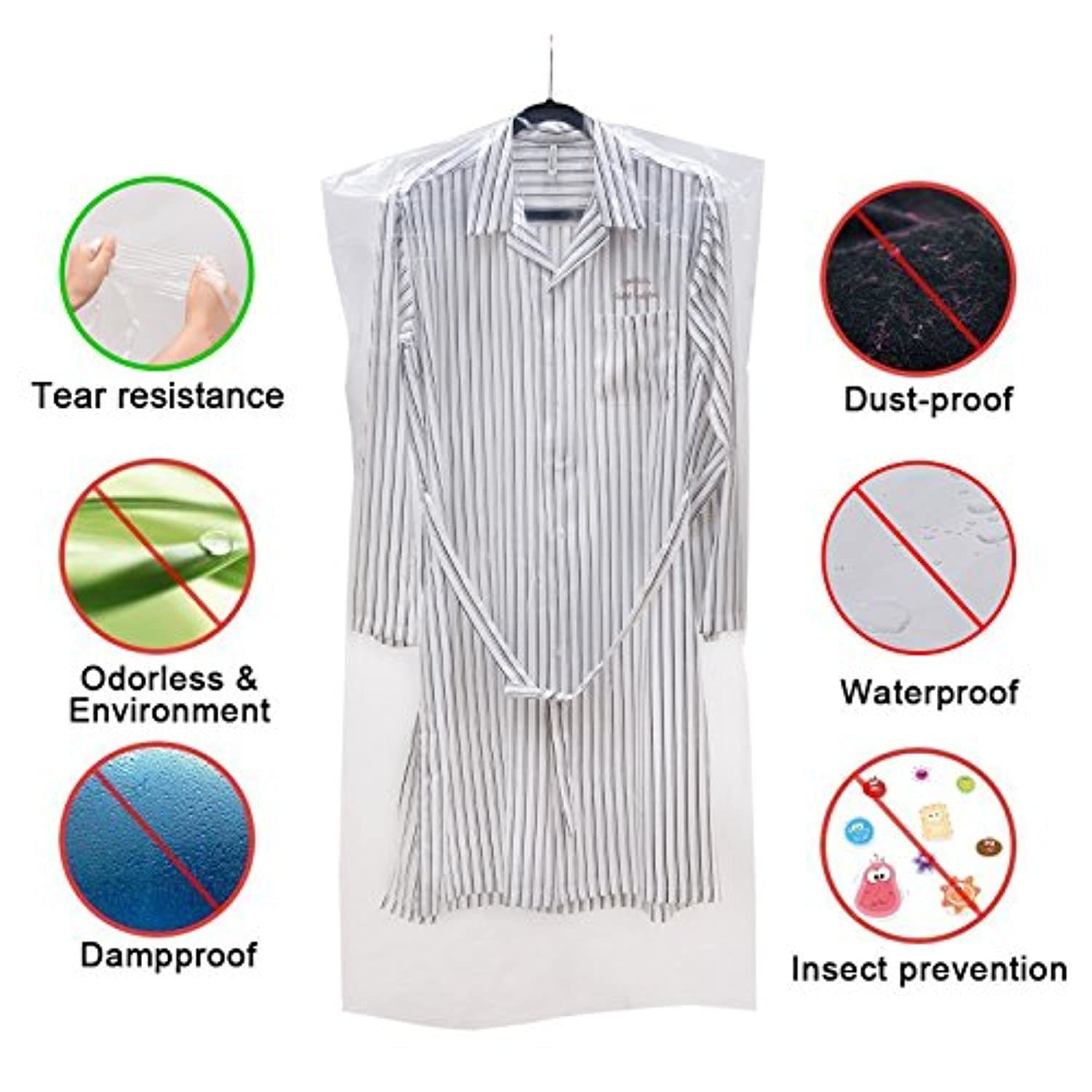 50 Pack Garment Bag Transparent Dustproof Cover Polythene Hanging Clothes Suit Protector Dress Jacket Cover for Dry Cleaner, Home Storage, Travel