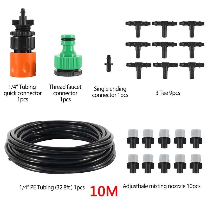 10/15M Outdoor Garden Micro Drip Irrigation System Fan Cooler Water Cooling Patio Misting System Mist Spray Kit Adjustable Water Dripper Head Sprinkler