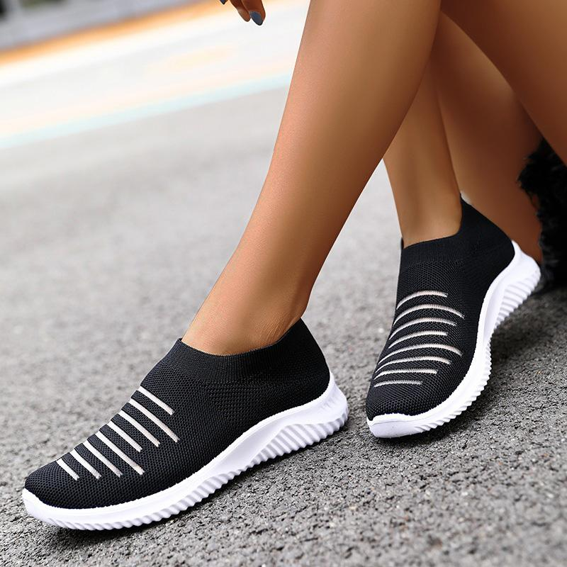 Women Casual Athletic Hollow-out Slip On Flyknit Fabric Sneakers