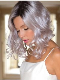2021 New Lace Front Wigs Wigs With Highlights And Lowlights Blue Rinse For Grey Hair Short Curly White Hair