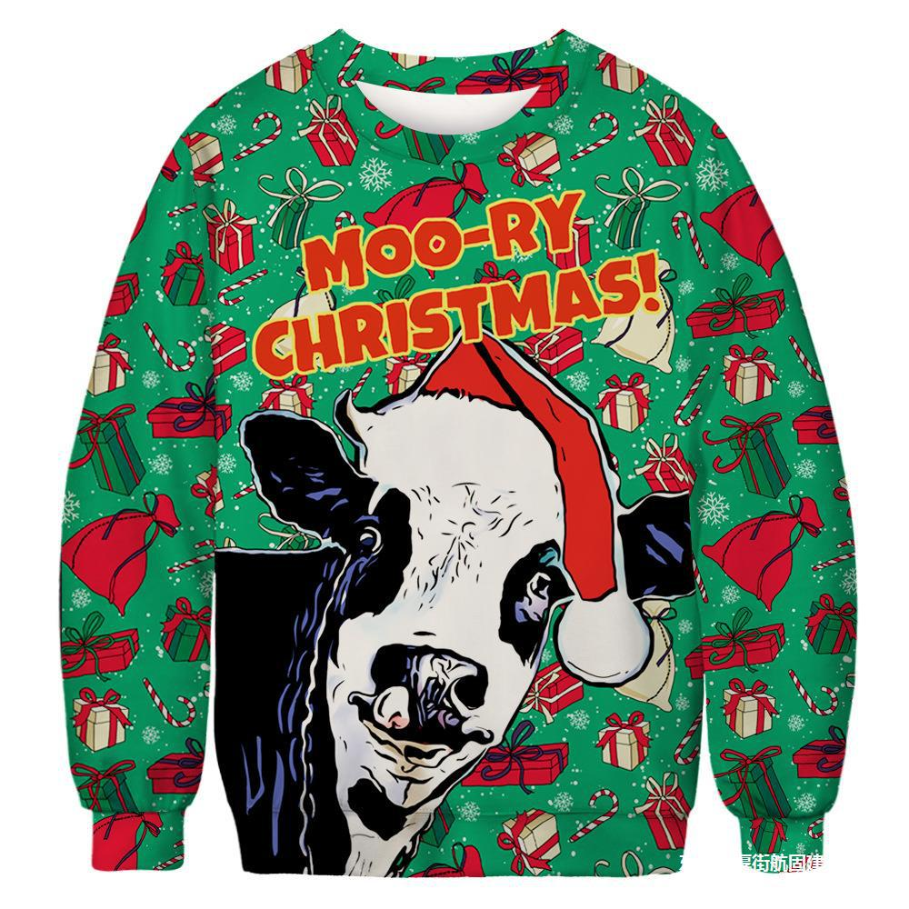 6 Ugly Christmas Sweatshirt Novelty 3D Graphic, Adult Neutral