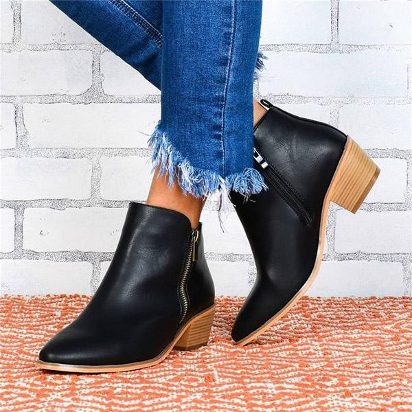Bonnieshoes Retro Leopard Zipper Pointed Toe Chunky Heel Ankle Boots