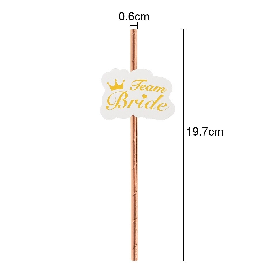 10pcs Team Bride Straws Gold DIY Craft with Letter Hen Bachelorette Wedding Decoration Bride To Be Party Supplies
