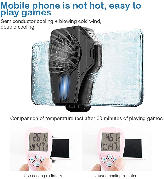Semiconductor Refrigeration mobile Phone Cooling Fan For Android iOS Game Radiator Portable - Black