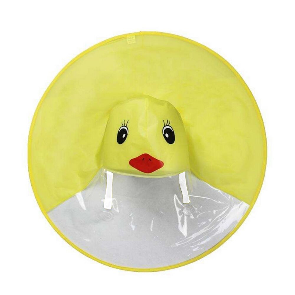 3 Color creative children's raincoat poncho poncho baby fashion cartoon small yellow duck child foldable migration UFO rain gear 5.0