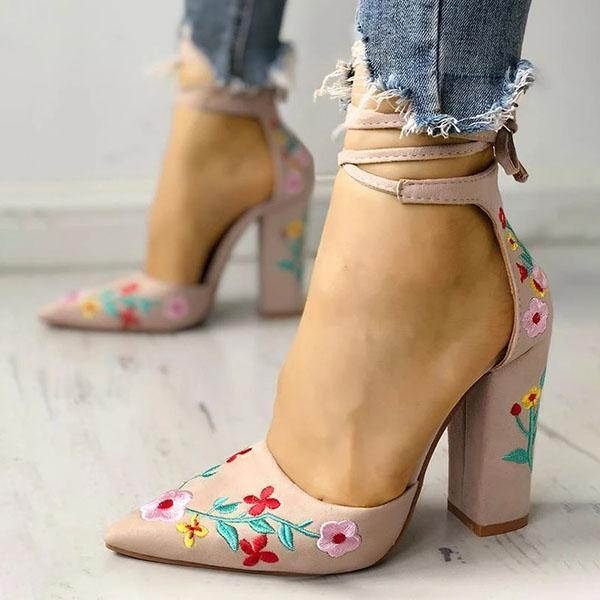 Mokoshoes Floral Embroidered Pointed Toe Chunky Heeled Sandals