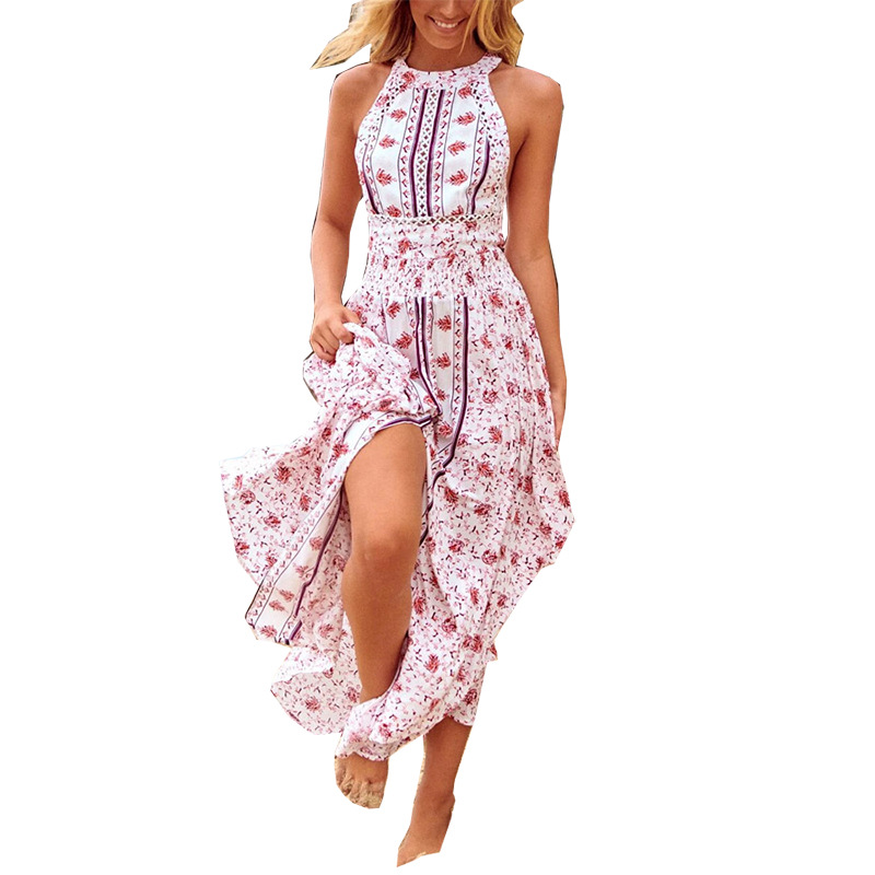 Women's printed long flower back dress