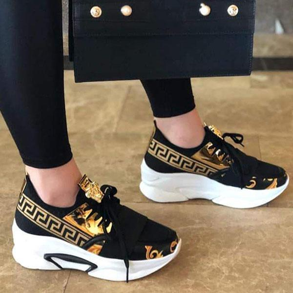 Mokoshoes Lace-Up Low-Cut Upper Round Toe Print Casual Sneakers