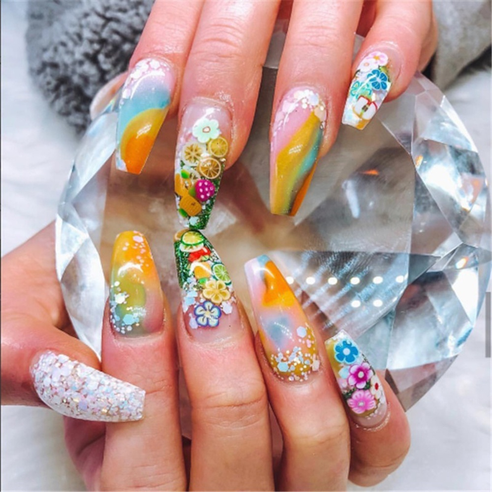 1000Pcs/Bag Fashion Manicure Tool Decal DIY Beauty Nail Art Decoration Nail Stickers Polymer Clay 3D Fruit Feather Flowers