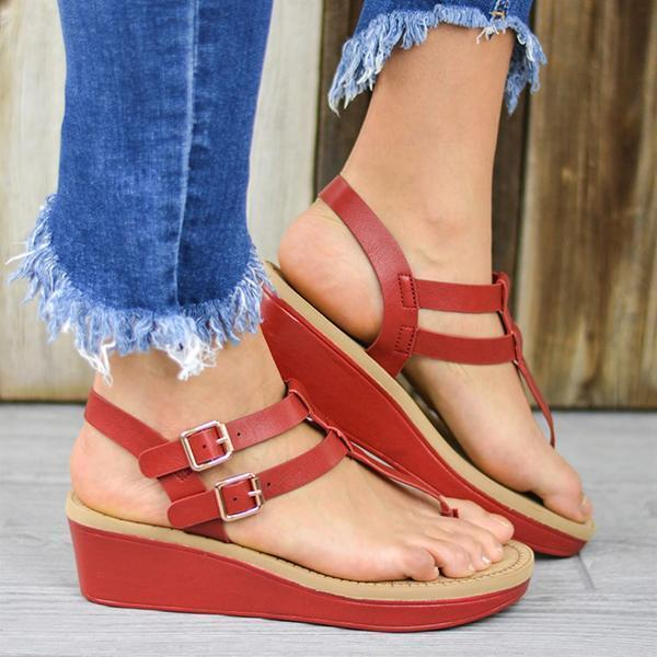 Upawear Adjustable Buckle T-Strap Wedge Sandals