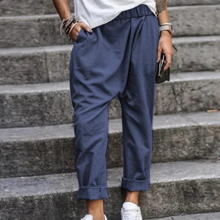Solid Color Casual Elastic Harem Pants