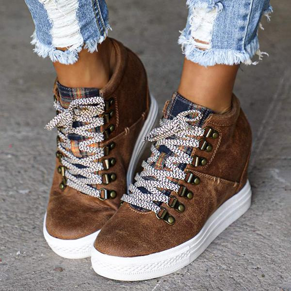 Mokoshoes Brown Leather Lace-Up Wedge Boots