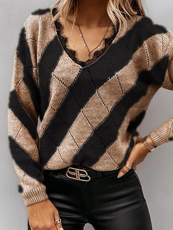 Bonnieshoes Color Block Lace V-Neck Casual Sweaters